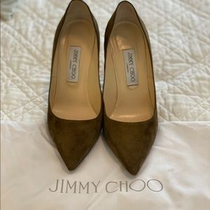 JIMMY CHOO olive pumps